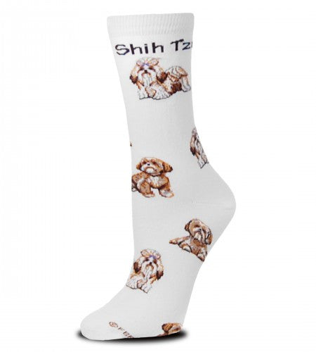 FBF Shih Tzu Poses 2 Socks have different colored Shih Tzu dogs posed from the Cuff to the Toe on a Bright White background.