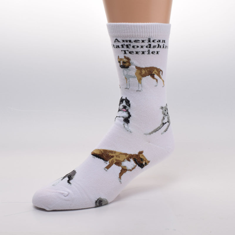 FBF American Staffordshire Terrier Poses Sock starts on a White background. Has the title of the dog in bold print on top. Poses of the American Staffordshire Terrier in Fawn, Brown, Black, Blue and White. In Poses Sitting, Standing and Laying Down.