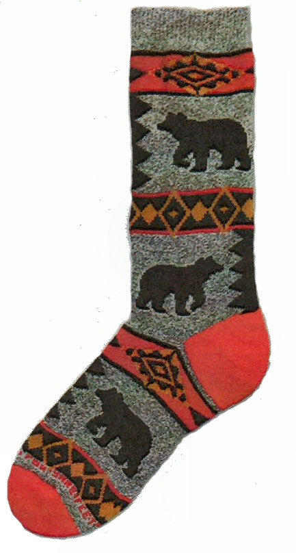 FBF Bear Blanket Motif Sock is on a Marble Grey background. The Heels and Toes are Bright Red. Rows of Diamonds in Reds Blacks and Browns change up the Sock. Black Silhouettes of Bears are in the Middle.