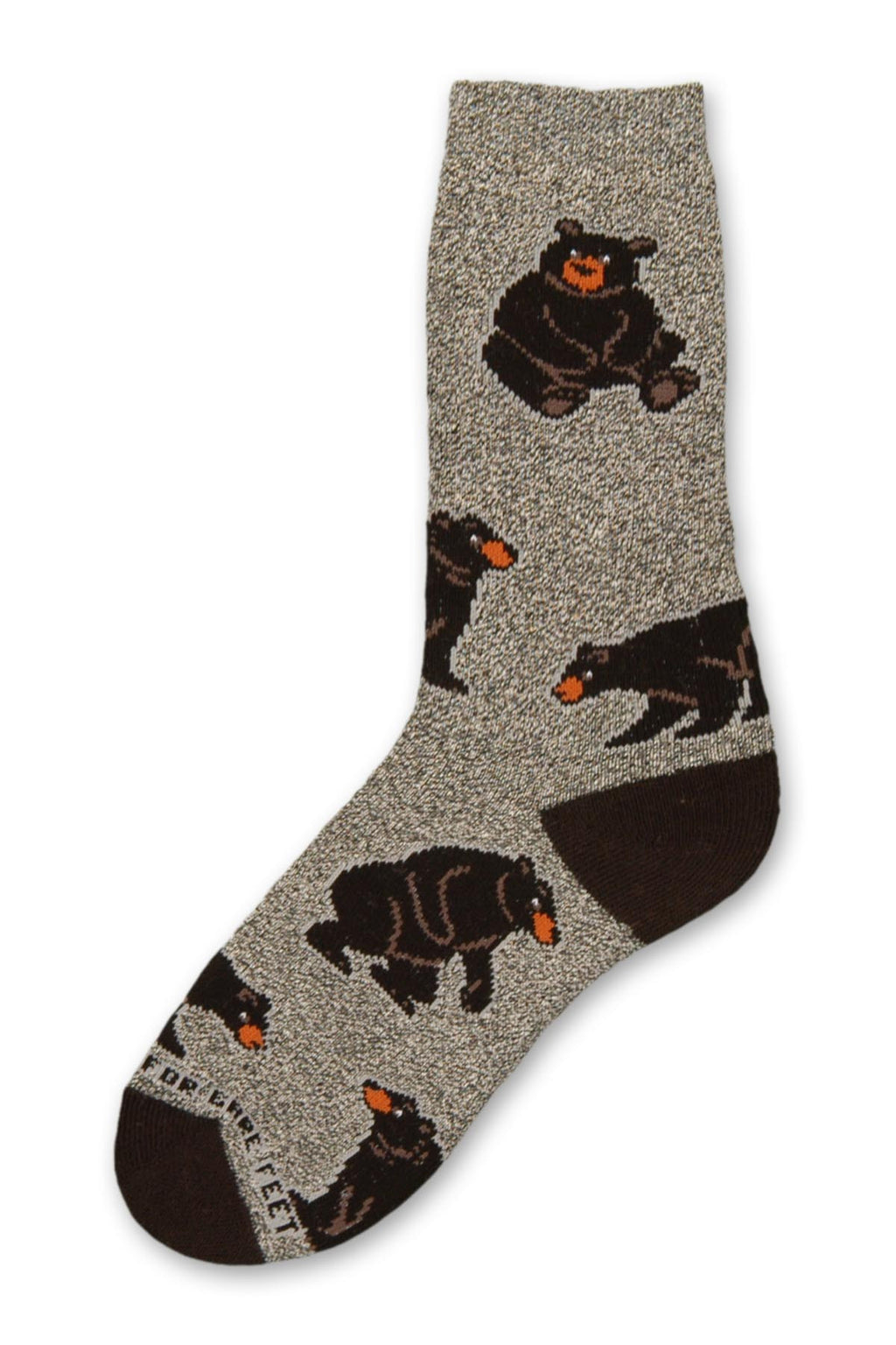 On a Marbled Grey background with Black Heels and Toes are Poses of Bears. They are Sitting Standing and Looking at each other.
