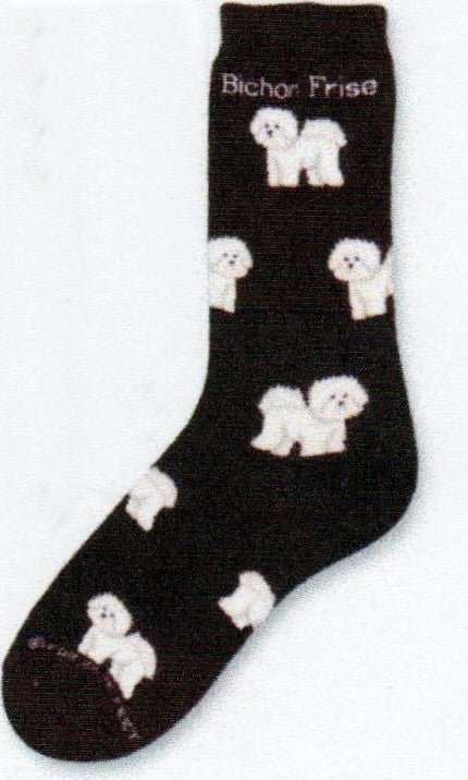 FBF Bichon Frise Poses Sock starts on a Black background with White Bichon Frise Dogs from the Cuff to the Toes.