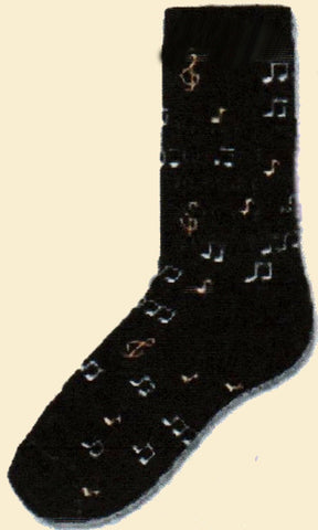 FBF Black Notes Sock starts with a Black background with Gold and Grey Notes and other musical symbols.