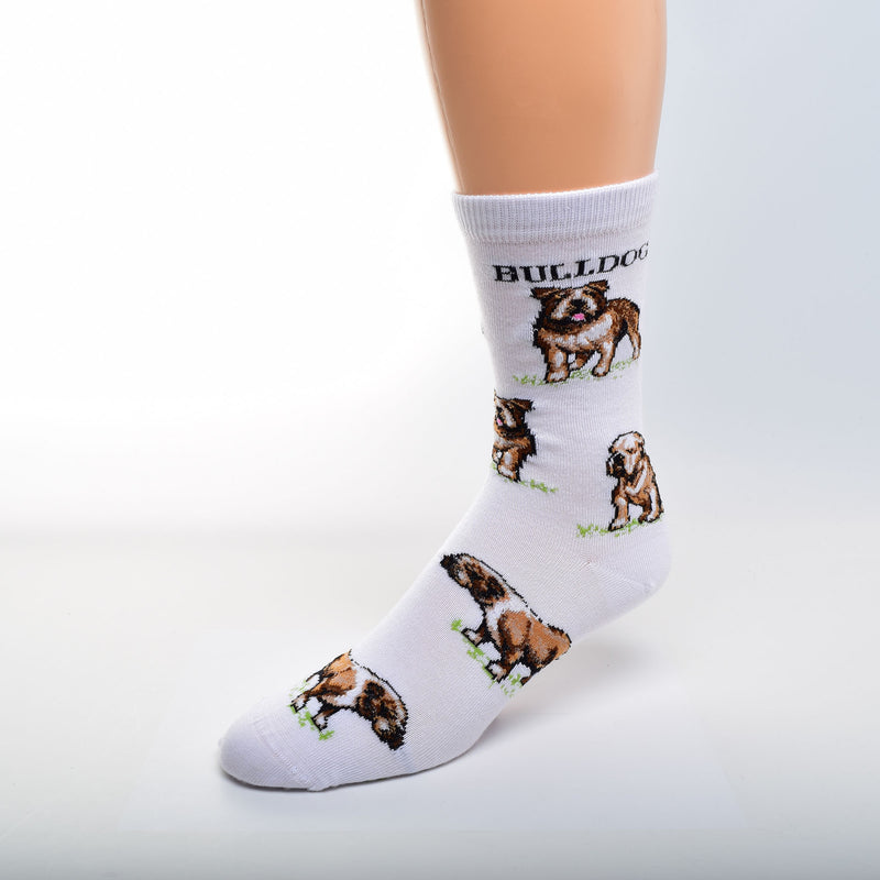 The Bulldog Poses Sock from For Bare Feet starts on Bright White with Green Grass under the Bulldogs. The bold Black print at the top says Bulldog and below starts the poses. They are in Stances for show and looking at you and Sitting.