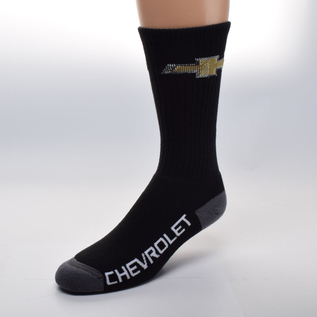FBF Chevy Bow Tie Sock shows the Gold and Silver Bow Tie Logo on a Black background sock with Bold White letters on the Foot reading Chevrolet.