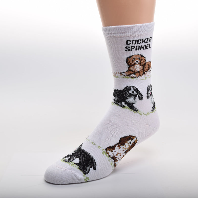 "For Bare Feet Cocker Spaniel Poses Sock starts with a White background and has ""Cocker Spaniel"" in Bold Black Print below the Cuff.  The Poses of the Cocker Spaniels are on top of Green Grass. The first Pose is a Red and White Cocker Spaniel Laying Down. The next ones are Black and White Standing. Then a Dark Brown and White Cocker Spaniel Sitting and at the Toes are Cocker Spaniels Black and White Standing once again."
