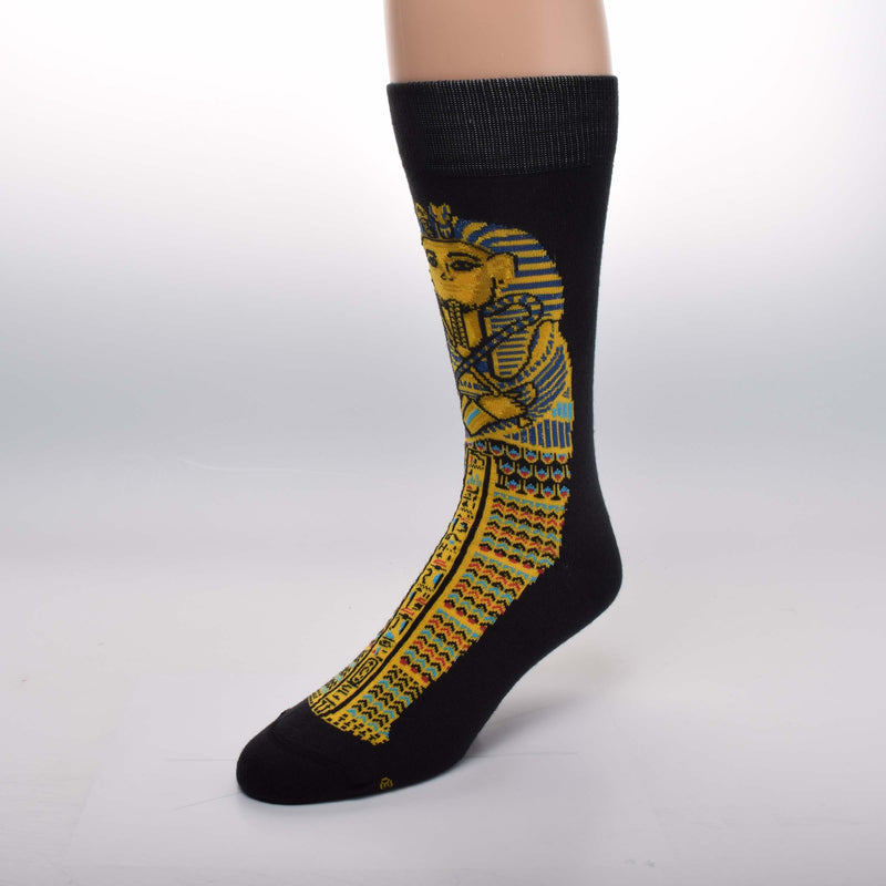 For Bare Feet Egyptian Tut Sock starts on a background of Black. This makes the Gold Tut Coffinette pop off the cloth to show how magnificent it is. Gold, Blue, Turquoise and Red Orange and just the most brilliant.