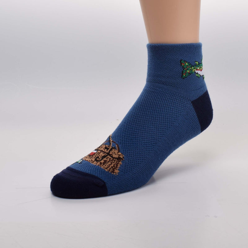26d1d0526d For Bare Feet Fishing Sock starts on a Light Navy background. On the 2 Inch