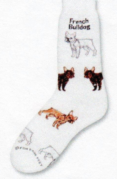 FBF French Bulldog Poses Sock starts on a Bright White background with the Words French Bulldog under the Cuff. Then there are Poses with three colors, White, Black and Fawn, all have Pink Ears.