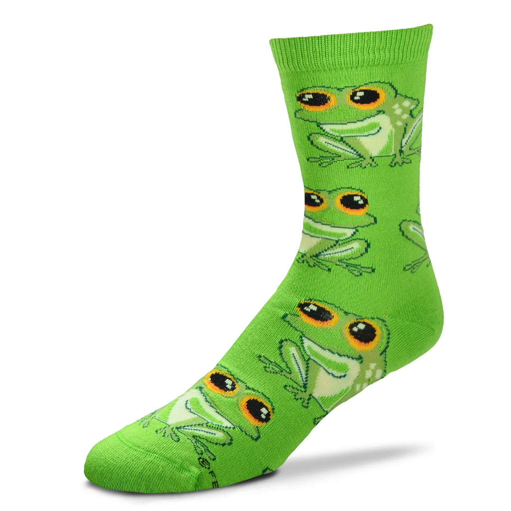 For Bare Feet Frog Jumbo Eyes Socks starts with a Lime background. The Frogs are placed in variegated rows. The Frogs are Lime, Asparagus and Maze. The Jumbo Eyes are Black with Maze to show sparkle, Orange and Vermilion. The outline is Dark Green.