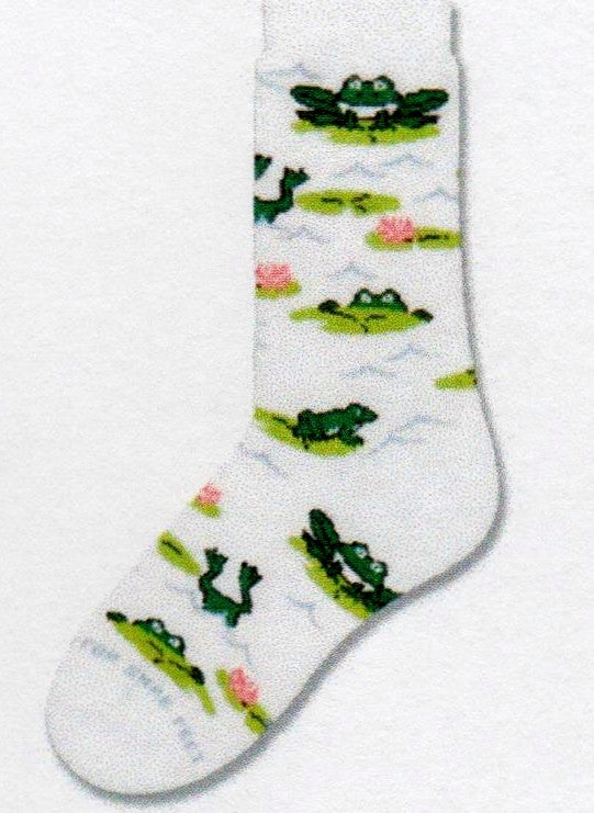 FBF Froggy Play Sock is on a Thick Bright White background with Green Frogs jumping onto Light Green Lilly Pads with Light Rose and Pink Lotus Flowers.