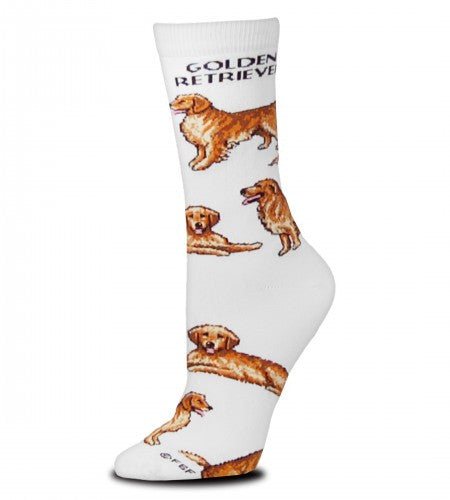 For Bare Feet Golden Retriever Poses 2 Socks are on a Bright White background with Golden Retriever in Black Bold Print below the Cuff. The Poses are a Show Stance, Sitting and Laying Down trading off to the Toes of the Sock.