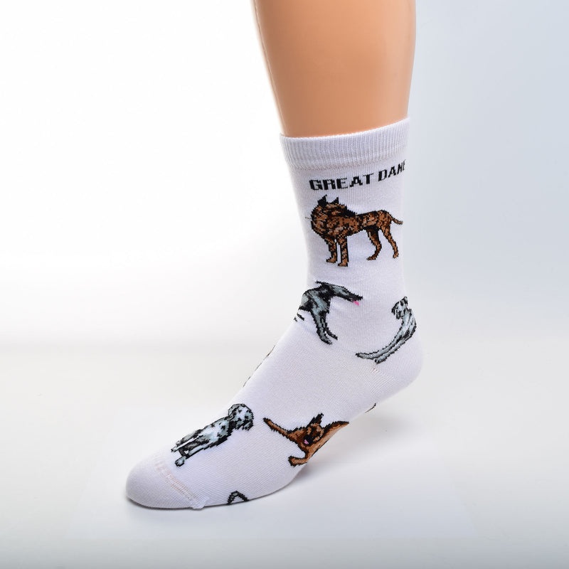 On a field of Bright White For Bare Feet gives us Great Dane Poses Socks with Great Dane in bold Black Print.  Then gives us different Colors of Great Danes in Poses. Standing, Bending forward asking to Play, Sitting and Laying Down. Colors are Brindle, Tan, Blue and Black and White.