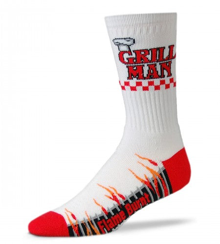 "FBF Grill Man starts on a White background the Cuff has a ""Toque Blanche"" Chef Hat sitting on top of the G in Red Letters that Spell Grill Man. The Foot is a Flame On Grill with Red Heels and Toes. Flames lick out of the Black and Grey Grill in Red and Orange. Flame Burnt is written in Red."