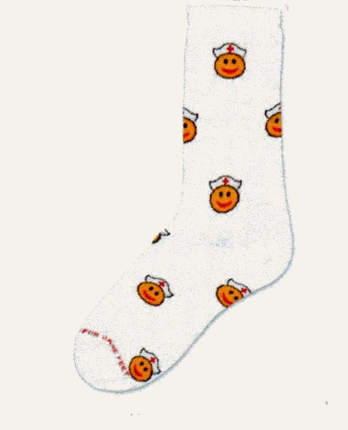 Happy Nurse Sock from For Bare Feet is all about Smiley Faces or Emoticons with Nurses' Caps with Red Crosses on a White background.
