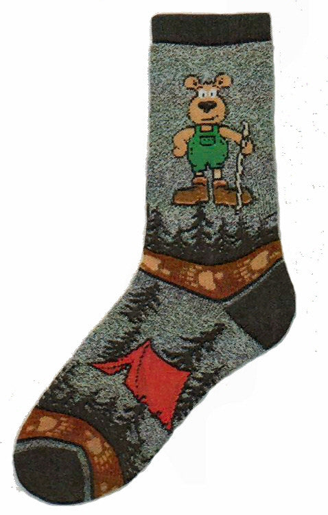 FBF hiking Bear Sock is a Thick Style Sock on a Marble Grey background. The Hiking Bear carries a Hiking Stick in the woods and Sleeps in a Red Tent too.