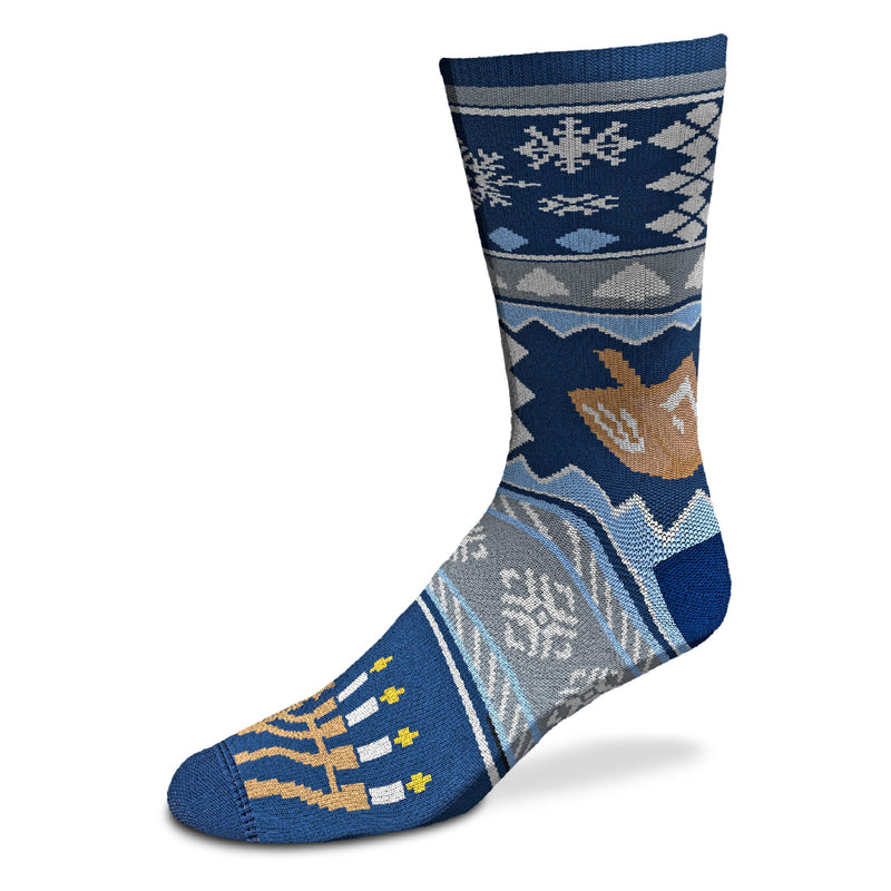 The For Bare Feet Sock is on a Navy Blue background with White and Uranian Blue Cadet Grey and Brown and Gold make up the Patterns, Snowflakes, The Menorah and the Toy Dreidel.