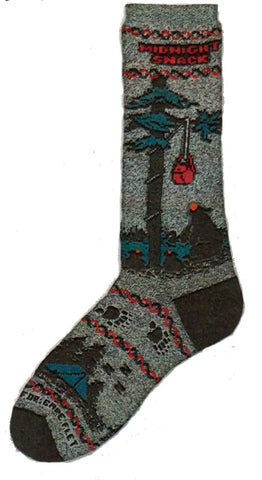 FBF Midnight Snack Sock is all about Bears trying to get food down out of a tree that has been hung on a rope by nearby campers.