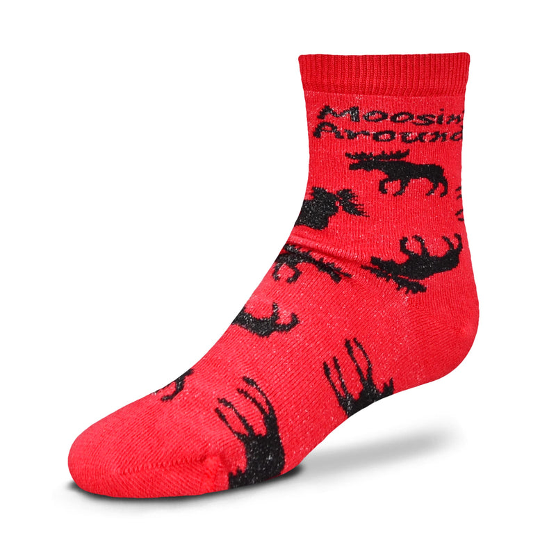 For Bare Feet Moosin' Around Childrens Socks come in Child and Youth Sizes. They are Red background with Black Silhouettes of Moose all over in every direction, even upside down! With Moosin' Around in Bold Black Print just like the Medium Size.
