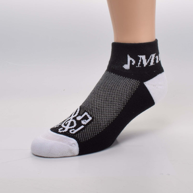 For Bare Feet Music the Cuff Sock has a 2 inch Cuff with Music on it. White Heels and Toes with Black Sole. Musical notes, Clefs are on the top of the foot.
