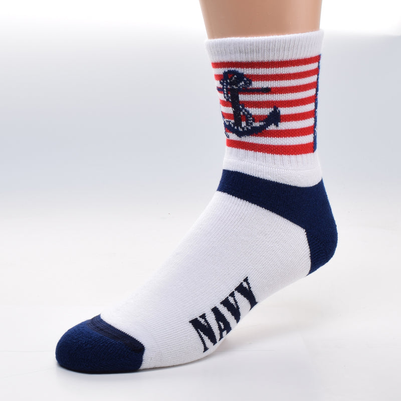 For Bare Feet US Navy Cuff Sock has the American Flag on the Cuff. On top is the Fouled Anchor in Navy Blue with Rope tied incorrectly around it. The Heels and Toes are Navy Blue. The word Navy is on both sides of the foot in bold letters.