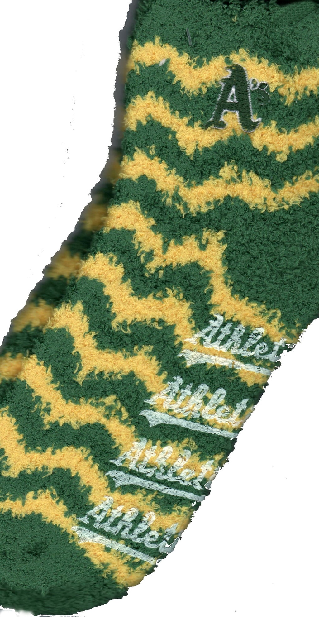 FBF Oakland Athletics Chevron Stripes Sleepsoft Non-Skid Sock follows the A's Colors of Forest Green and Gold. In White Rubber the Non-Skid is Heat Sealed to the bottom of the Sock. The Logo is in Forest Green.