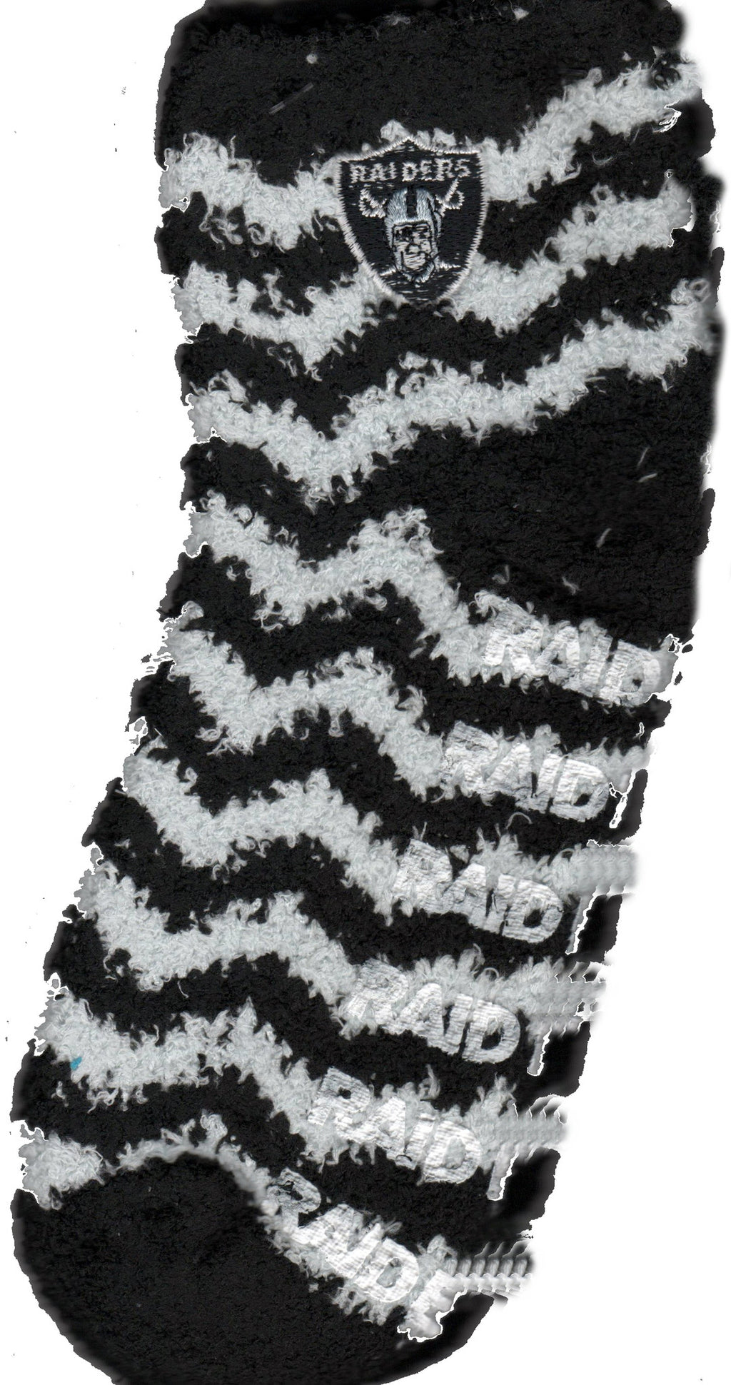 The Silver and Black of the Oakland Raiders are in Chevron Lines over this Sleepsoft  Non-Skid Sock. Raiders is in White Rubber heat sealed to the bottom for the Non-Slid. The Raiders Logo is attached to both Socks so you can see it on the outside.