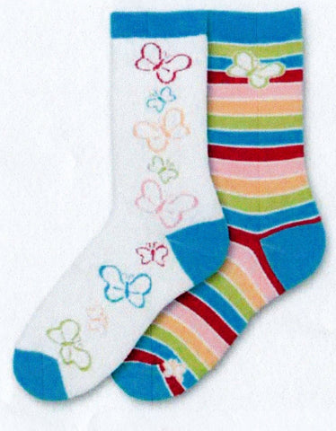 FBF Butterfly Mismatch Socks are paired together perfectly. One is a White Background with many different Colored Butterflies with Reds, Blues and Greens. Both Socks the Cuff, Heels and Toes are Blue. The other sock has rows of stripes with only a Big Butterfly at the Cuff and a Small Butterfly at the Toe.