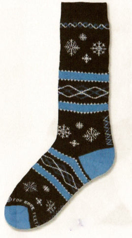 FBF Snowflakes on Navy Novelty Sock starts on Navy background with Denim Rows, Heels and Toes. Different Snowflakes are in the Navy falling from Top to bottom of the Sock.