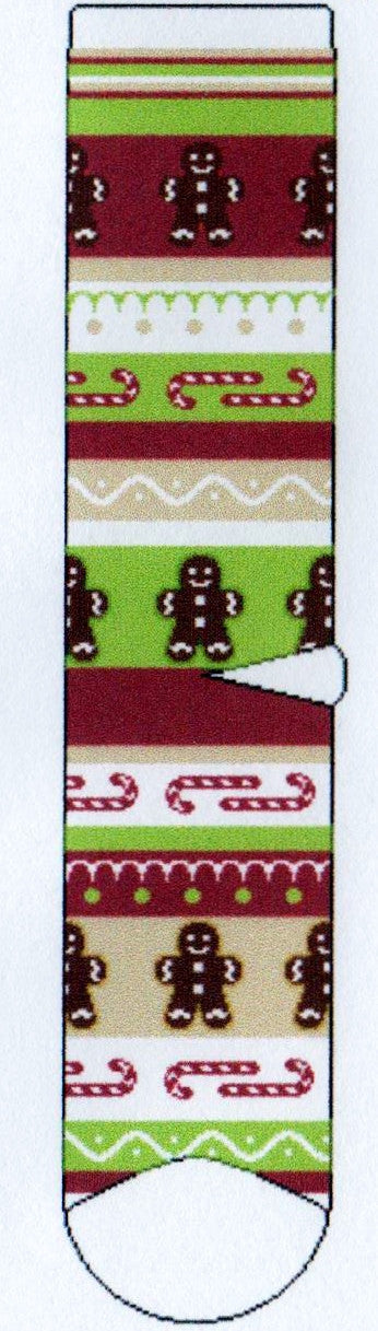 FBF Psychabright Gingerbread Man Novelty Sock has Rows of Christmas Baking and Candy delights. Gingerbread Men with Icing and Candy Canes in Rows of Bright Green, Red, Tan and White.