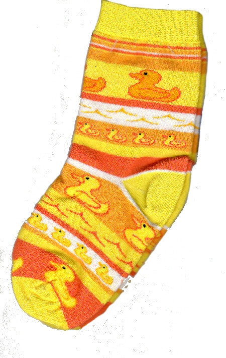 Bright Yellows and Oranges make up this sock with Little Rubber Ducks in the rows.