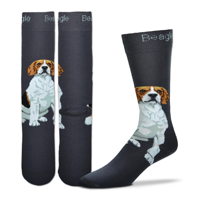 "FBF Realistic Beagle Sock starts with a Charcoal base. ""Beagle"" is written on the Cuff in White. The Beagle sits on Top of the Foot on his haunches. He is White, Grey, Black, Russet Buff and Seal Brown in colors."
