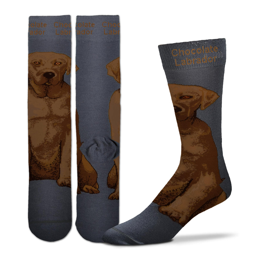FBF Realistic Chocolate Labrador Sock starts on a Charcoal Sock. The Chocolate Labrador sits on the Foot of the Sock going up the Leg. Chocolate Labrador is written in the Cuff.