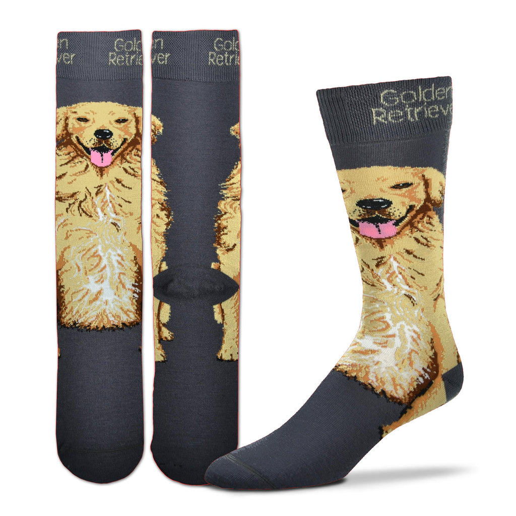 FBF Realistic Golden Retriever Sock starts on a Charcoal background. The Cuff has Golden Retriever in Buff Letters. Below begins the smiling Face of the Golden Retriever in Buff, Seal Brown for Mouth Nose and Eyes. Rust and Russet are used for shading and White for Highlights. One Tone Rose is the Tongue sticking out to lick!