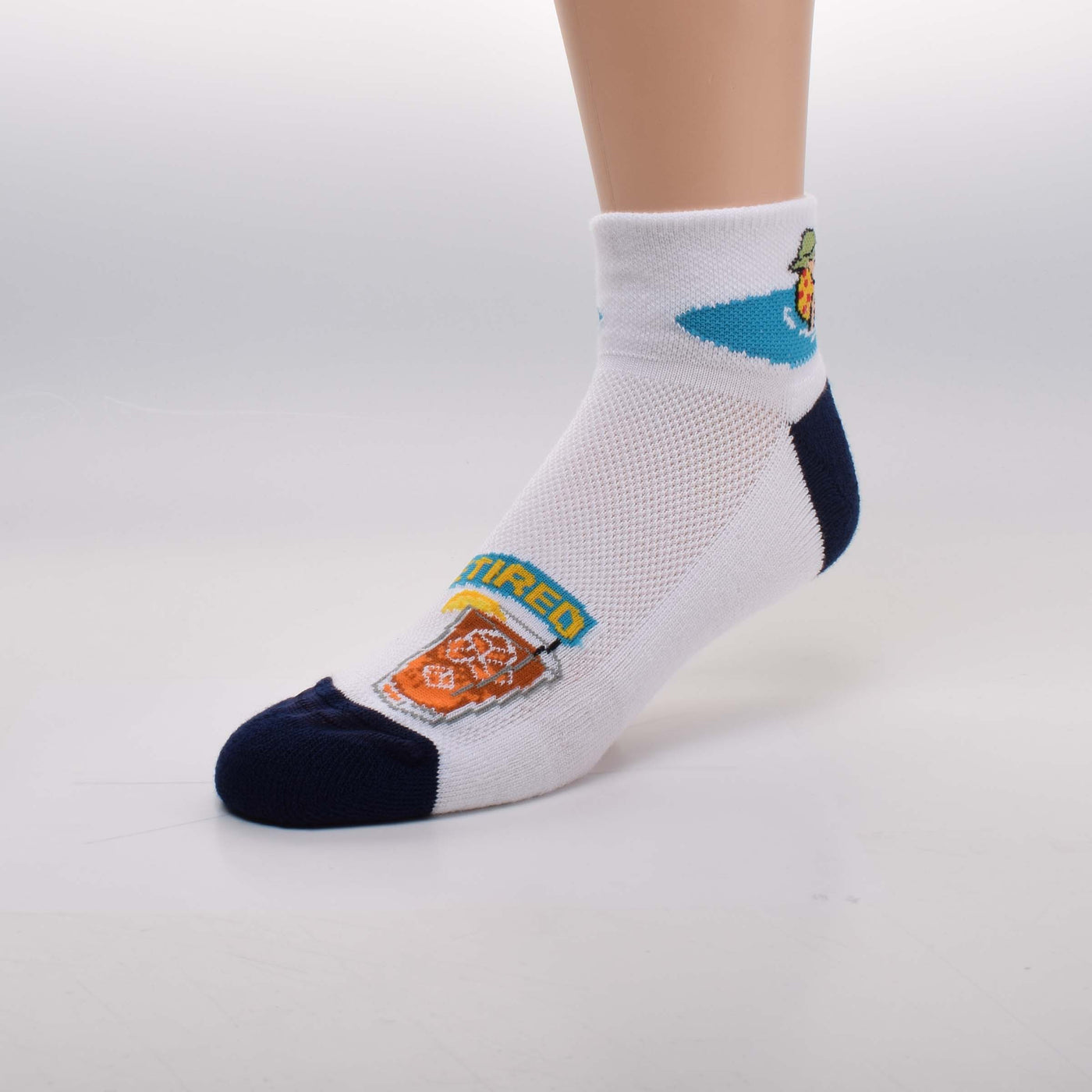 For Bare Feet Retired Guy Sock starts on a White background with Navy Blue  Cushioned Heels