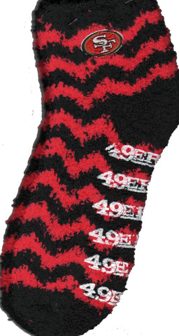 San Francisco 49ERS Chevron Stripes Sleepsoft Non-Skid Sock has Red and Black Chevron Stripes. The White Rubber is Heat Sealed to the bottom says 49ERS. The San Francisco 48ERs Logo is on each outer side of the sock.