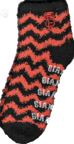 The San Francisco Giants Chevron Sleepsoft Non-Skid Socks are of course Orange and Black. The Chevrons go down the sock. Giants in White Rubber is the Non-Skid which is heat sealed to the Sock and the San Francisco Giants Logo SF is on the outer side of the sock.