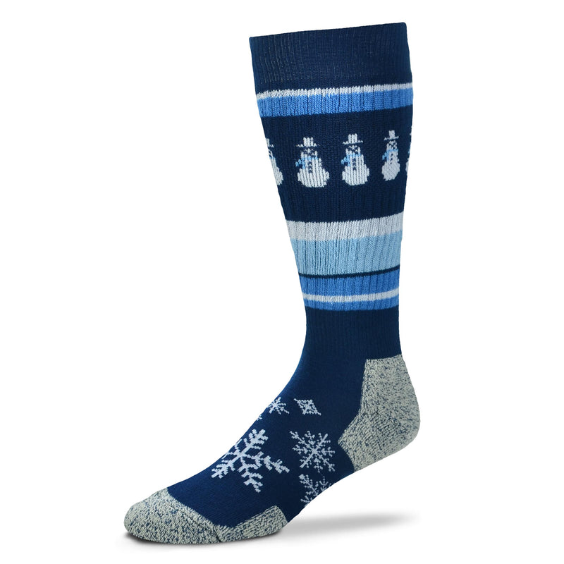 FBF Christmas Snowman Wild Stripes Sock is a Trekker-2 which means it is a Boot sock 4 all seasons. It is a Wool Blend of High Tech design for your feet with fun White Snowmen Designs  and Snowflakes with Blue Stripes .