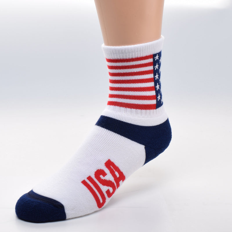 For Bare Feet USA Flag Cuff Sock starts with the American Flag directly woven into the Cuff. 13 Red and White Stripes then a Canton of Navy Blue with 5 point White Stars in rows to make 50. Under the Cuff the Heel is Navy Blue. The Foot is Bright White with a Bright Red USA on both side of the foot. The Toes are Navy Blue.
