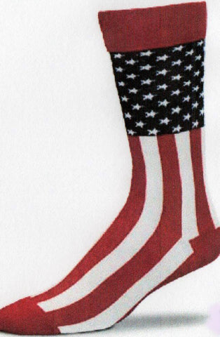 The United States Flag with two inch cuff above the Blue Canton and Stars. Then comes the Red and White Stripes. Heels and Toes are red.