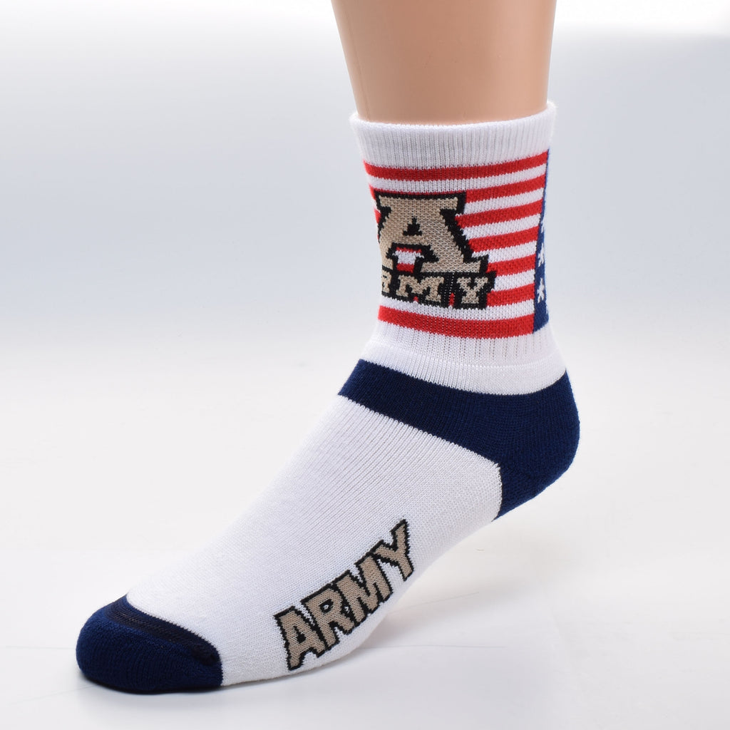 For Bare Feet proudly places the American Flag on the Cuff of this Sock. 13 Red and White Stripes and a Blue Canton holds the 50 five White pointed Stars. There is a Large A in Bold Tan with the word ARMY below it and both are encased in Black. Below the Cuff is White with Navy Blue for the Heel and crossing the top of your foot. The Sock is White with Army again on both sides in Large Tan and Black with the Toes in Navy Blue.