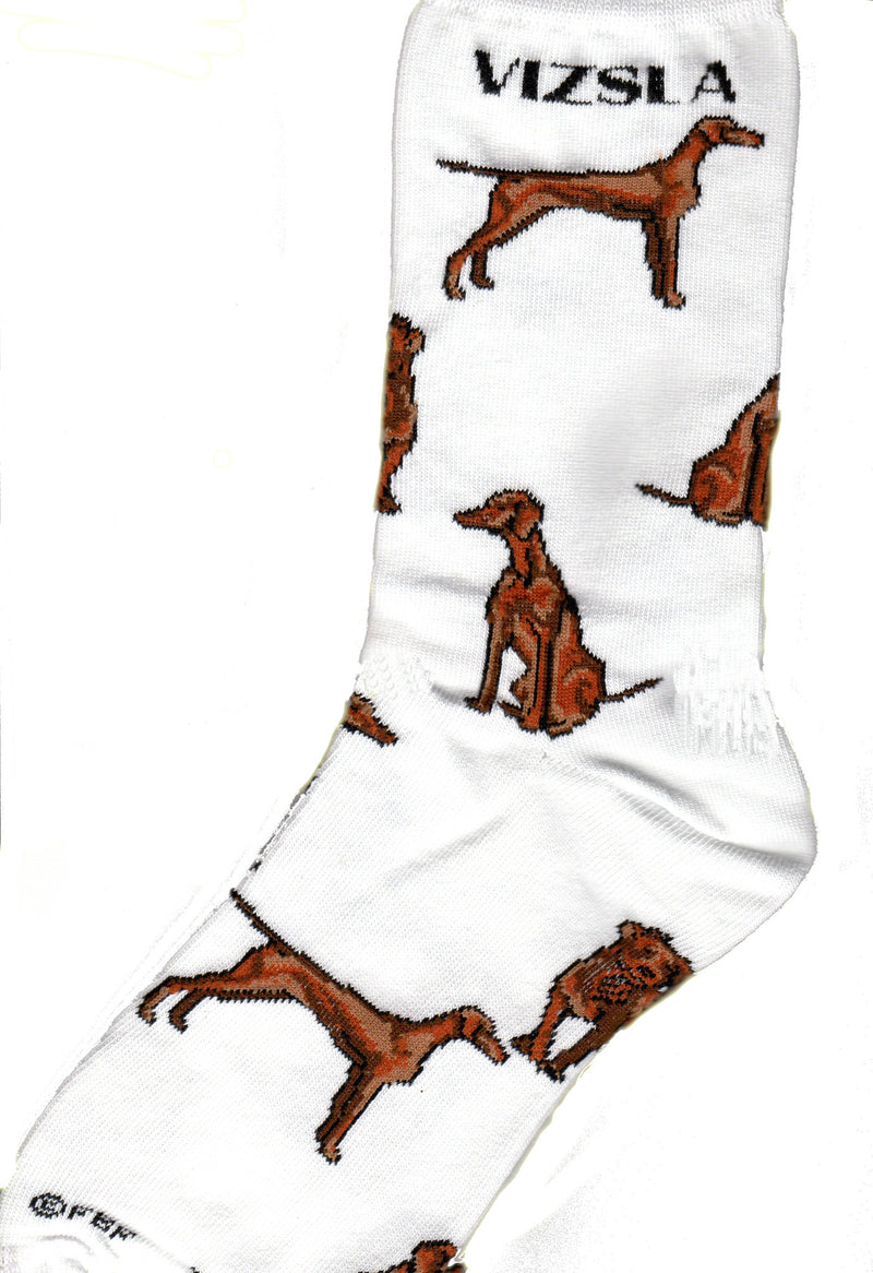 "For Bare Feet designed Vizsla Poses with wonderful detail. On a White background under the Cuff on both sides reads, ""Vizsla"". Then you see a Vizsla in Golden Rust color in a perfect Show Stance on one side and the other of the Vizsla Sitting. The Third Pose is of the Vizsla trotting towards you."