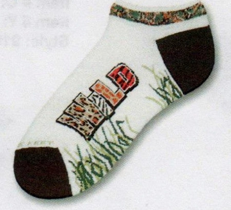 FBF Wild No Show Sock has a Jungle Motif on the Cuff. Heels and Toes are Black. Wild is written on the Foot in many animal prints. Tall grass comes up from the instep towards the side of the feet.