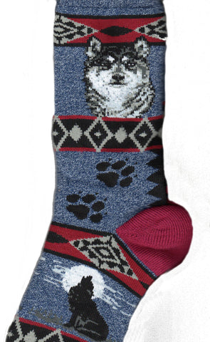 FBF Wolf Blanket Socks are Blue Marbled with Maroon Heels, Toes and Stripes. The Wolf is Black, Greys and White.