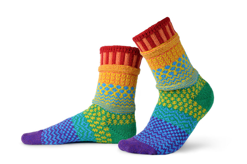 Solmate Socks normally makes mismatched socks on purpose. They decided to make the Rainbow pairs Match on Purpose.  From Red to Violet both pairs run the hues of a rainbow from size Small to X-Large.