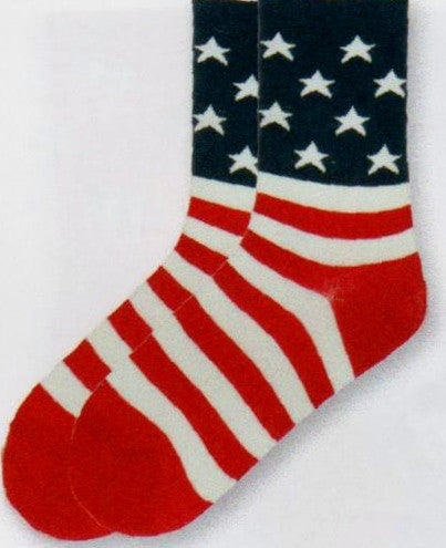 K Bell Womens Flag Sock starts with a Blue Cuff and Ankle with White Stars. Then the Stripes start with White on Top. The Heels and Toes are Red. The Toes end the Flag in Red.