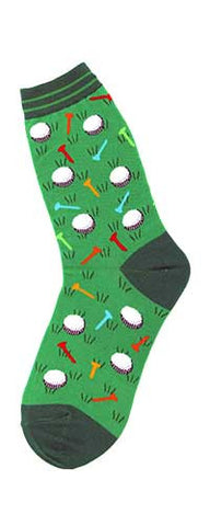 Foot Traffic Golf Socks for Women starts with a Lincoln Green with Lime Green Row Cuff. The Heel and Toes are Lincoln Green so is the Rough. Lime Green is the main Grass.  The Balls are White and Black. The Tees are bright colors of Red, Orange, Bright Lime Green, Turquoise and Orange-Red.
