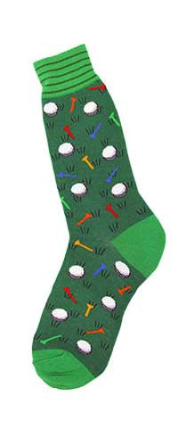 Foot Traffic Golf Socks for Men starts with a Lime Green Cuff with Small Rows of Lincoln Green. Lincoln Green is the main Grass. Toes and Heels are Lime Green. The Balls are White and Black. The Tees are Bright Colors of Red, Orange, Orange-Red and Blue.