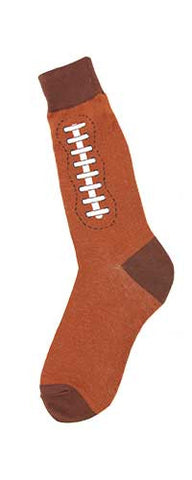 Foot Traffic Mens Football Socks start with a Medium Brown Cuff, Heels and Toes. The Football is Russet Brown with White Laces and Black Eyelets.