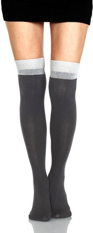 Foot Traffic OTK Silver Lurex Cuff Sock is a Black comfortable cotton weave with Silver Lurex on Top for a Fun Luxury OTK!
