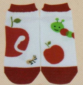 Shinzi Apple with Worm Sock is a Mismatched No Show Sock showing a Red Apple and a Cute Green Worm that likes to nibble.